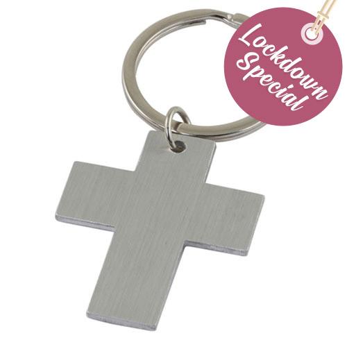 Christian Cross wedding favour keyring