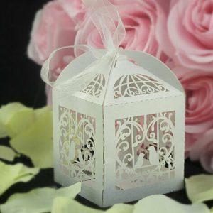 Lasercut Heart Lovebirds Favour Box