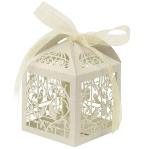 Lasercut Heart Lovebirds Favour Box