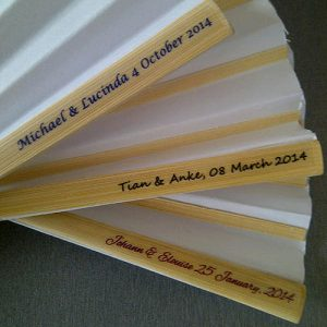 Personalised White Paper Hand Fans