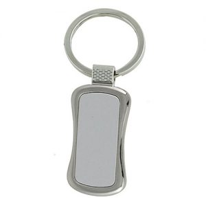 Curvy Silver Metal Keyring