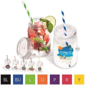 Personalised jam jar wedding drinks