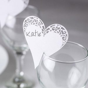 Laser Cut Heart Place Card