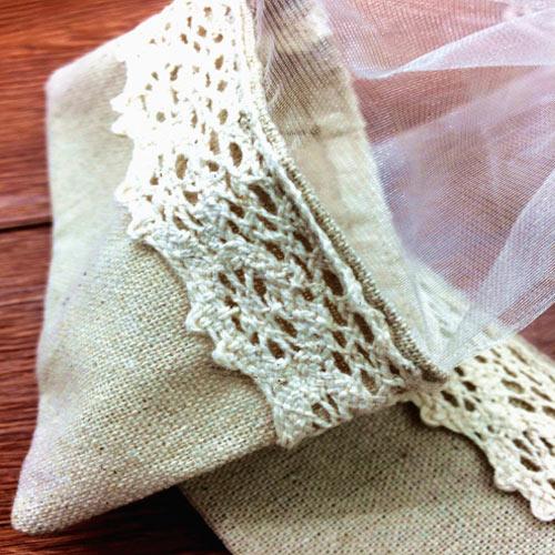 Organza Lace Hessian Bag