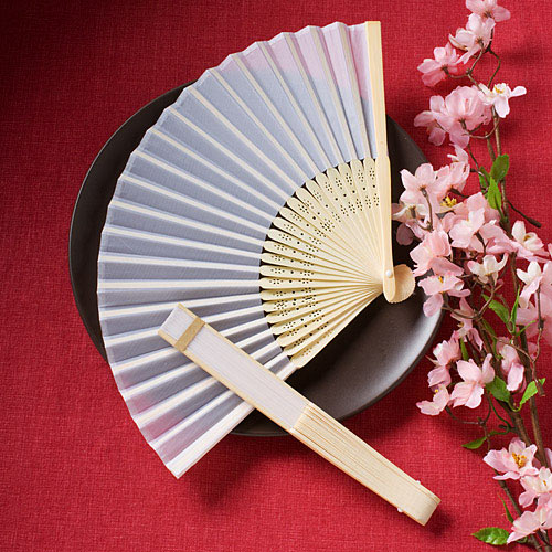 White Silk Hand Fan