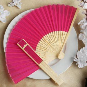 Pink Silk Hand Fan