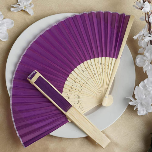 Purple Silk Hand Fan