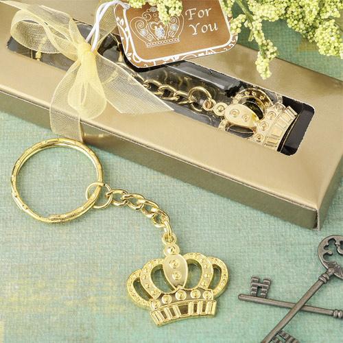Gold Metal Crown Keyring