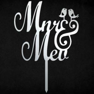 Mnr & Mev lovebird cake topper