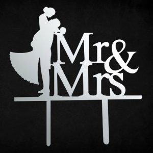 Mr & Mrs love cake topper