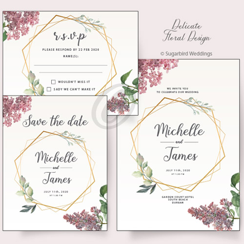 Delicate Floral Invitation Pack