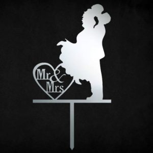 Mr & Mrs Heart Cake Topper