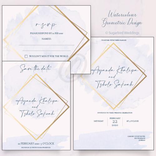 Watercolour Geometric Invitation Pack