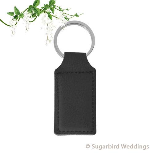 Black Leatherette Keyring
