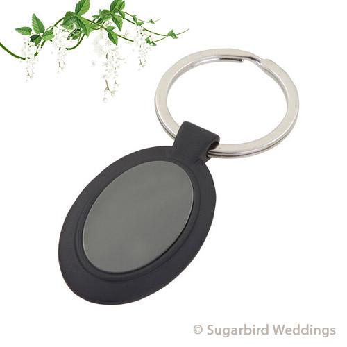 Black Oval Keyring