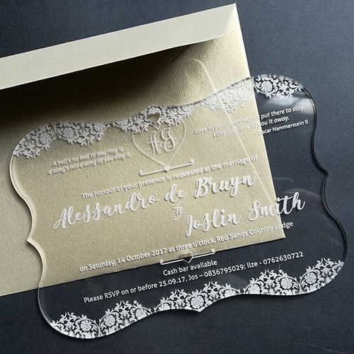 Clear Acrylic Wedding Invite