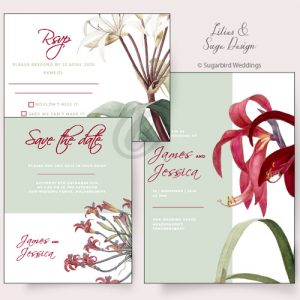 Lillies and Sage Invitation Pack