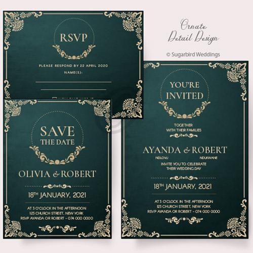 Ornate Detail Invitation Pack