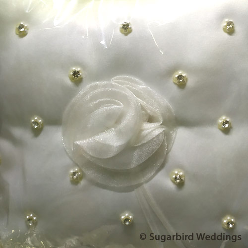 Roses and Beads Ring Pillow
