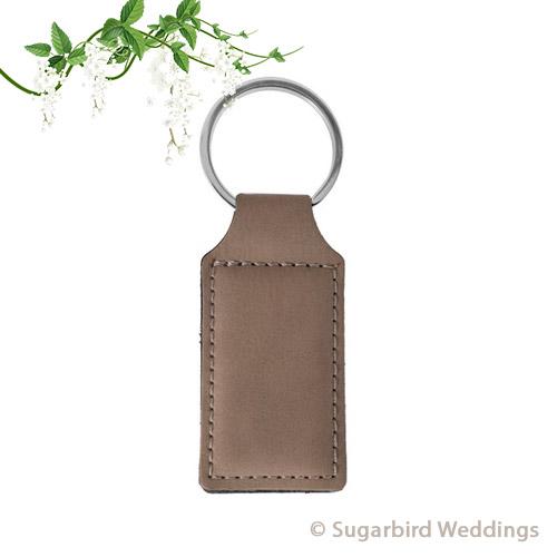 Tan Leatherette Keyring