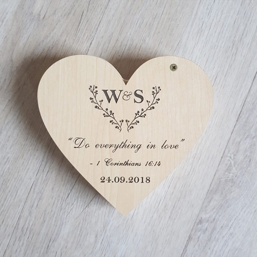 Wooden Heart Ring Box