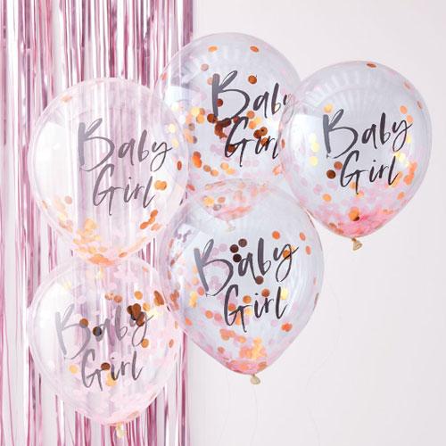Baby Girl Confetti Balloon
