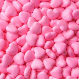 Bright Pink Candy Chocolate Hearts