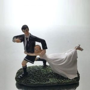 Rugby couple cake topper