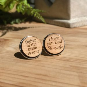 Custom Silver Wooden Cufflinks