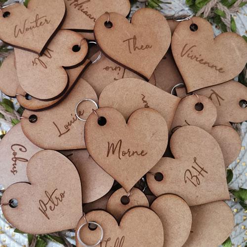 Heart placecard keyring