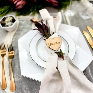 Wooden Heart Placecard Keyring