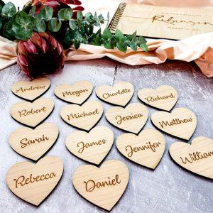 Wooden Heart Placecard Keyring