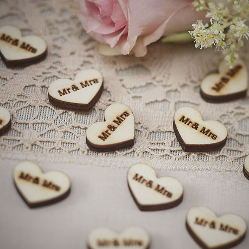 Vintage Mr and Mrs Wooden Hearts