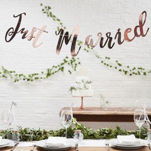 Rose Gold Just Married Banner