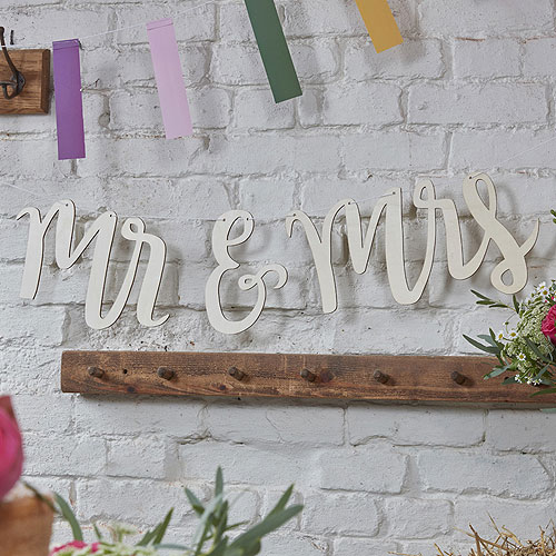 Boho Mr And Mrs Wooden Bunting