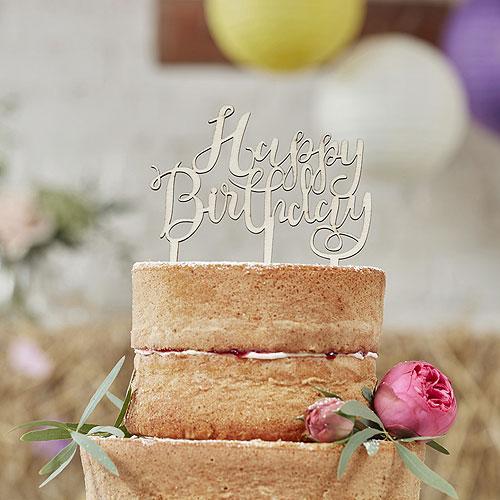 Boho Happy Birthday Cake Topper