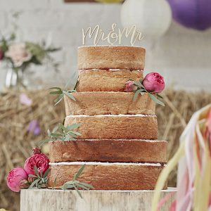 Boho Wooden Mr & Mrs Cake Topper
