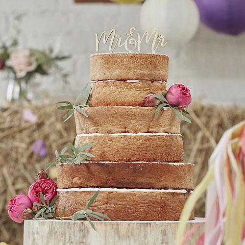 Boho Wooden Mr & Mrs Cake Topper