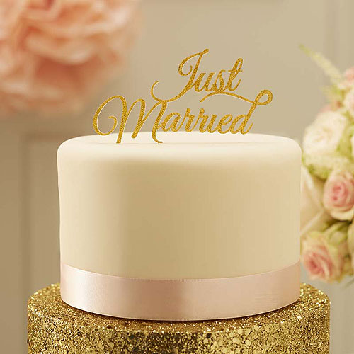 Pastel Perfection Just Married Cake Topper