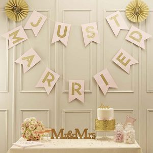 Pastel Perfection Just Married Bunting