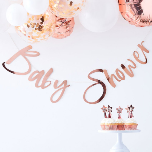 Baby Shower Rose Gold Banner