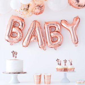 Gold Baby Balloon Banner