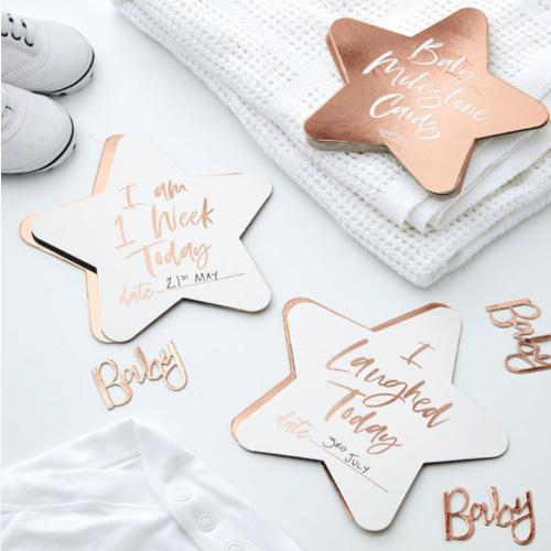 Rose Gold Baby Milestone cards