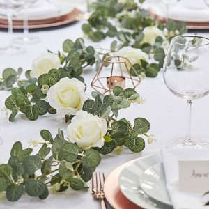 Artificial Eucalyptus Garland White Rose