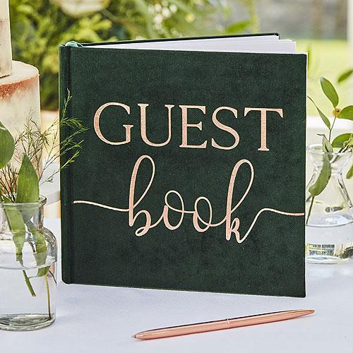 Green Velvet Guest Book