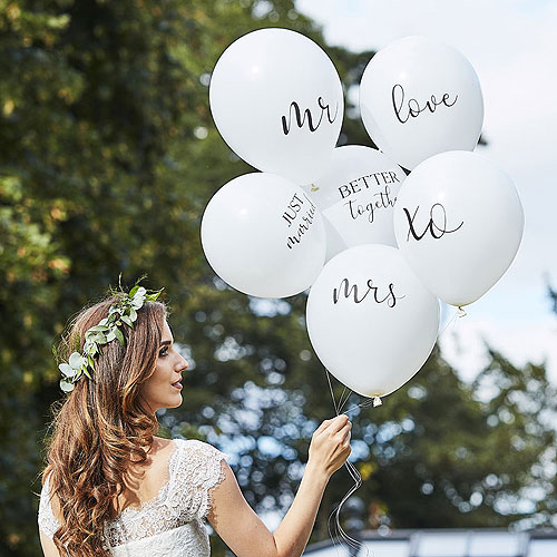 White Wedding Balloons Bundle