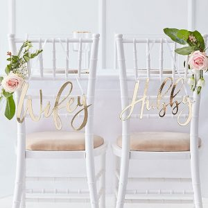 Gold Wifey & Hubby Chair Signs