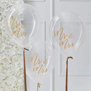Gold Mr & Mrs Balloons
