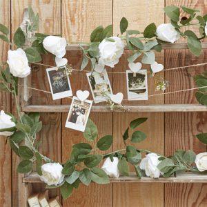 Artificial White Rose Foliage Garland