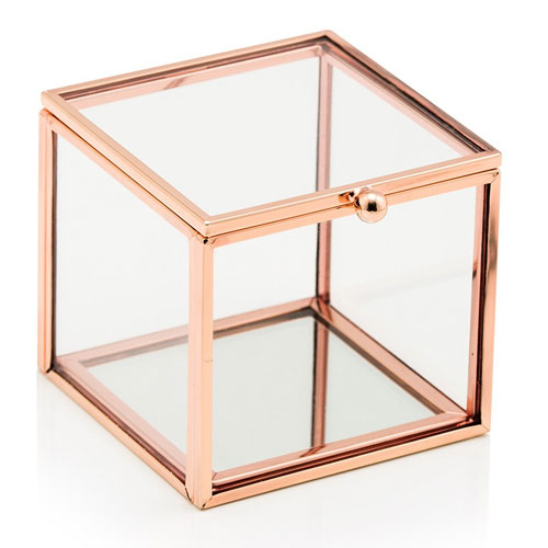 Rose Gold Glass Ring Box